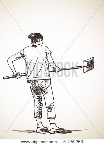 Sketch of woman working with shovel, Hand drawn illustration