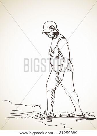 Sketch of woman walking on the beach wearing bikini, Hand drawn illustration