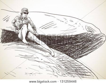 Sketch of woman moving carefully on huge stones, Hand drawn illustration