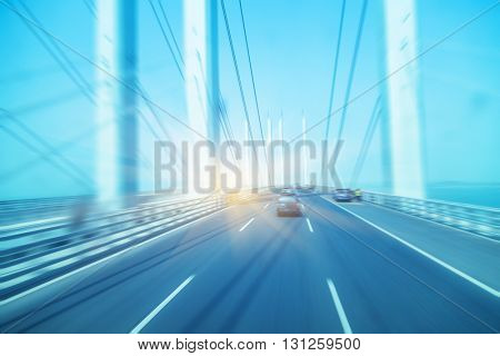 traffic on haiwan bridge,qingdao, blurred