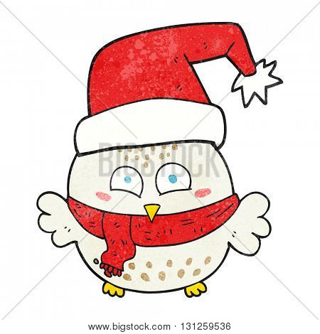 freehand textured cartoon cute christmas owl