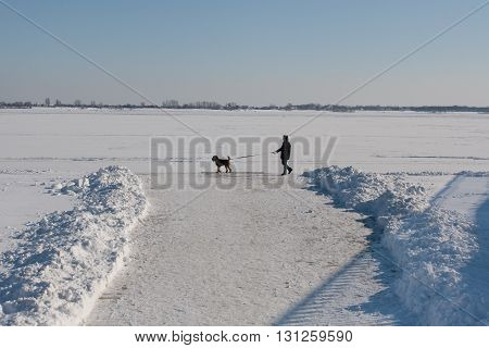 VOLGOGRAD RUSSIA - FEBRARY 05 2012: A man walking with the dog along the waterfront