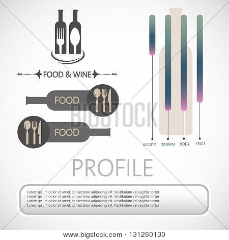 Wine info graphic restaurant bottles spoon and fork in outlines with components description over silver background. Digital vector image.