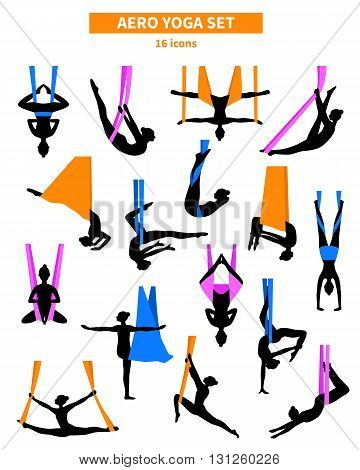 Aero yoga black white isolated icon set with silhouettes of women training in colored fabrics vector illustration