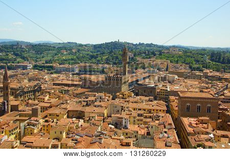 Italy. Florence. View of the old town with the Cathedral