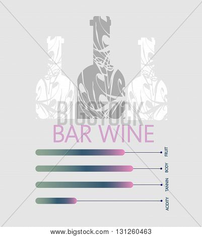 Bar wine info graphic white bottles with components description over silver background. Digital vector image.
