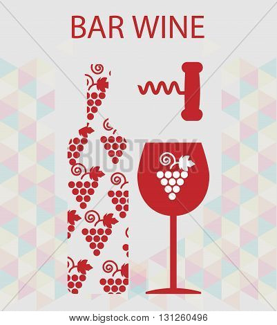 Red wine and tasting card bottle with glass and corkscrew over silver background. Digital vector image.