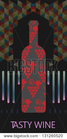 Red wine and tasting card bottle with red grape sign over black background with colored pattern. Digital vector image.