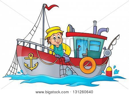 Fishing boat theme image 1 - eps10 vector illustration.