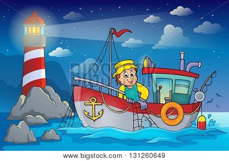 Fishing boat theme image 4 - eps10 vector illustration.