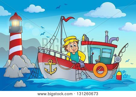 Fishing boat theme image 2 - eps10 vector illustration.