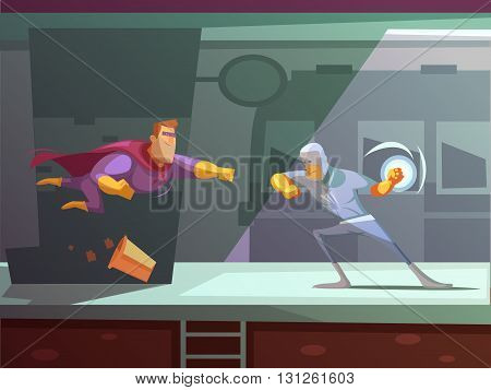 Two superheroes fighting on station retro cartoon flat vector illustration