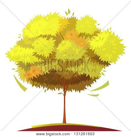 Autumn tree with thin trunk on white background flat cartoon isolated vector illustration