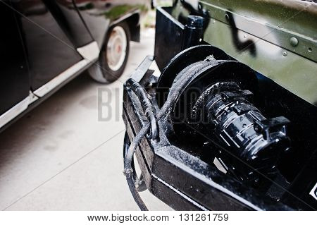 Closeup Of Winch, Offroad Equipment At Military Jeep