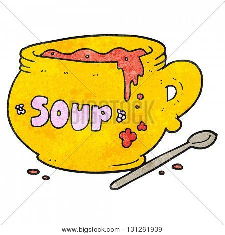 freehand textured cartoon bowl of soup