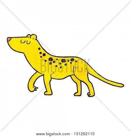 freehand textured cartoon leopard