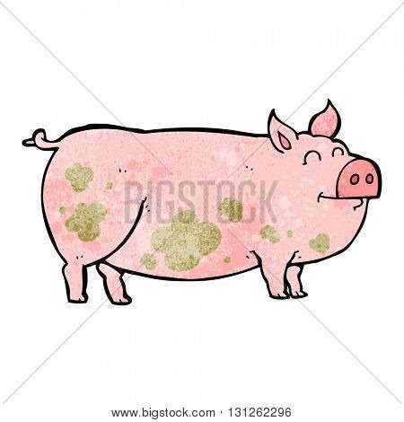 freehand textured cartoon muddy pig