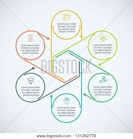 Thin line flat elements for infographic. Template for diagram, graph, presentation and chart. Business concept with 6 options, parts, steps or processes. Data visualization.