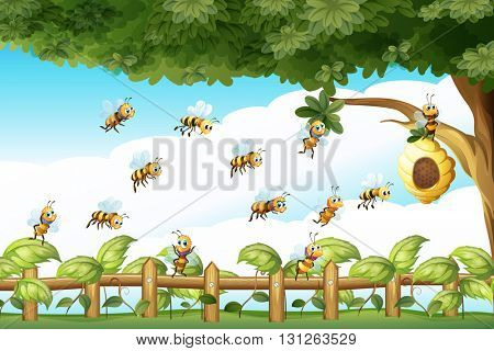 Scene with bees flying around beehive illustration