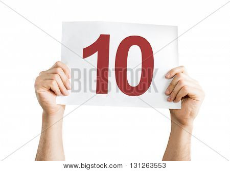 10 placard isolated on white background