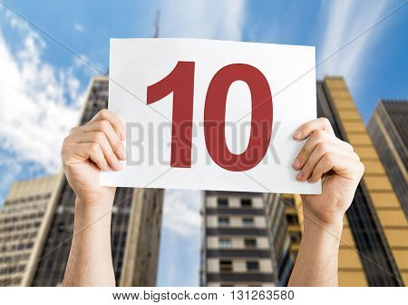 10 placard with urban background