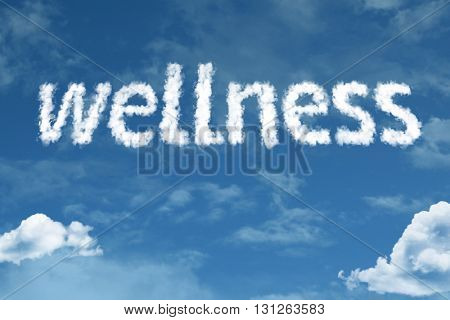 Wellness cloud word with a blue sky