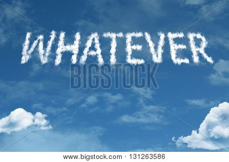 Whatever cloud word with a blue sky