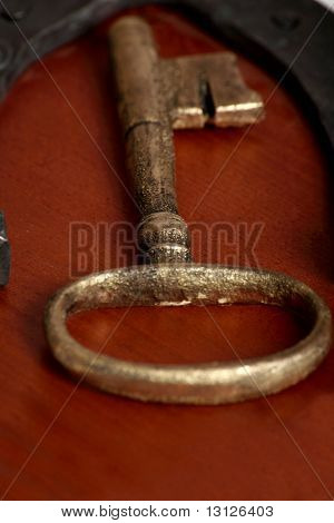 Vintage golden key and horseshoe
