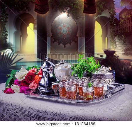 Moroccan tea glasses and biscuit, moroccan food