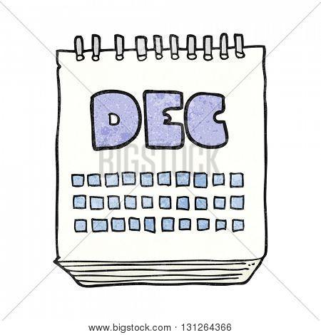 freehand textured cartoon calendar showing month of december