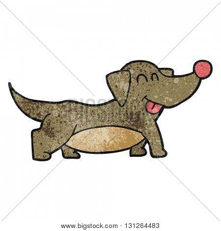 freehand textured cartoon happy little dog