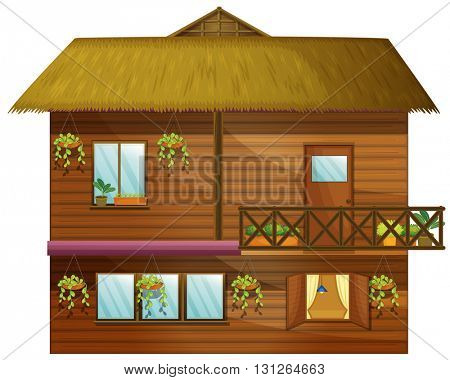 Wooden house with two stories illustration