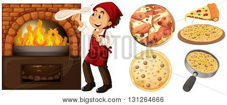 Chef making pizza at hot stove illustration