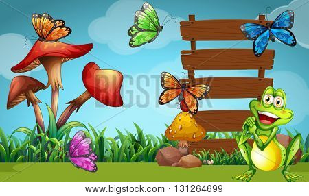 Frog and butterflies at the sign illustration