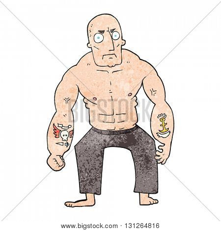 freehand textured cartoon tough man