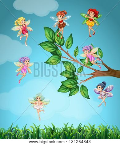 Fairies flying in the sky illustration