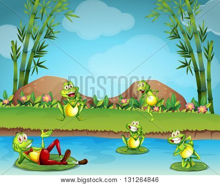 Five frogs living by the pond illustration