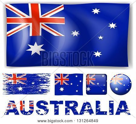 Australia flag in different designs illustration