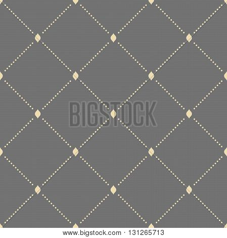 Geometric repeating vector ornament with diagonal dotted lines. Seamless abstract modern golden pattern