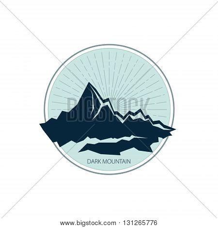Mountains Emblem, Sunburst and the Mountains, Design Element, Vector Illustration