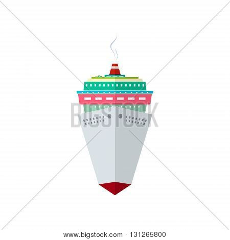 Cruise Ship Isolated on White, a Front View of the Liner, Travel Concept, Vector Illustration