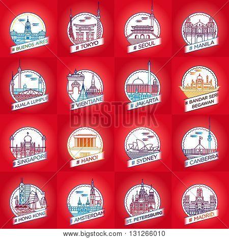 vector line city badge set buenos aires tokyo seoul manila kuala lumpur vientiane jakarta bandar seri begawan singapore hanoi nairobi canberra hong kong amsterdam st. petersburg madrid