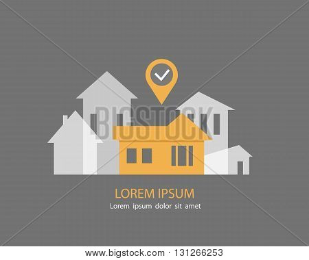 Vector illustration of real estate infographic pointing to the house. Real estate, house for sale, installment sale, credit,rent. The best location