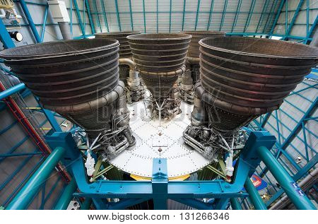 KENNEDY SPACE CENTER FLORIDA USA - APRIL 27 2016: The five engines of the Saturn 5 rocket which is exhibited at the visitor complex of Kennedy Space Center