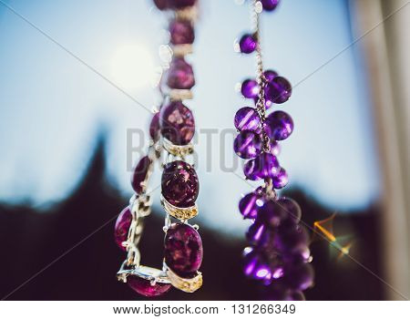 purple Amethyst necklace chain as lilac currants