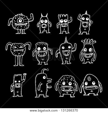 an images of cartoon cute monsters illustration design