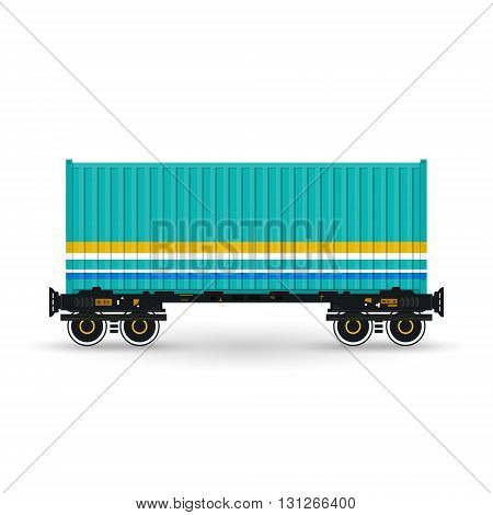 Container, Green Container on Railroad Platform, Railway and Container Transport, Platform with Container Isolated on White, Vector Illustration