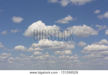 Blue fluffy sky with clouds background photo