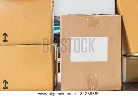 Closeup surface of brown boxes set background