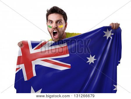 Fan holding the flag of Australia